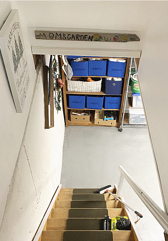 looking down the basement stairs