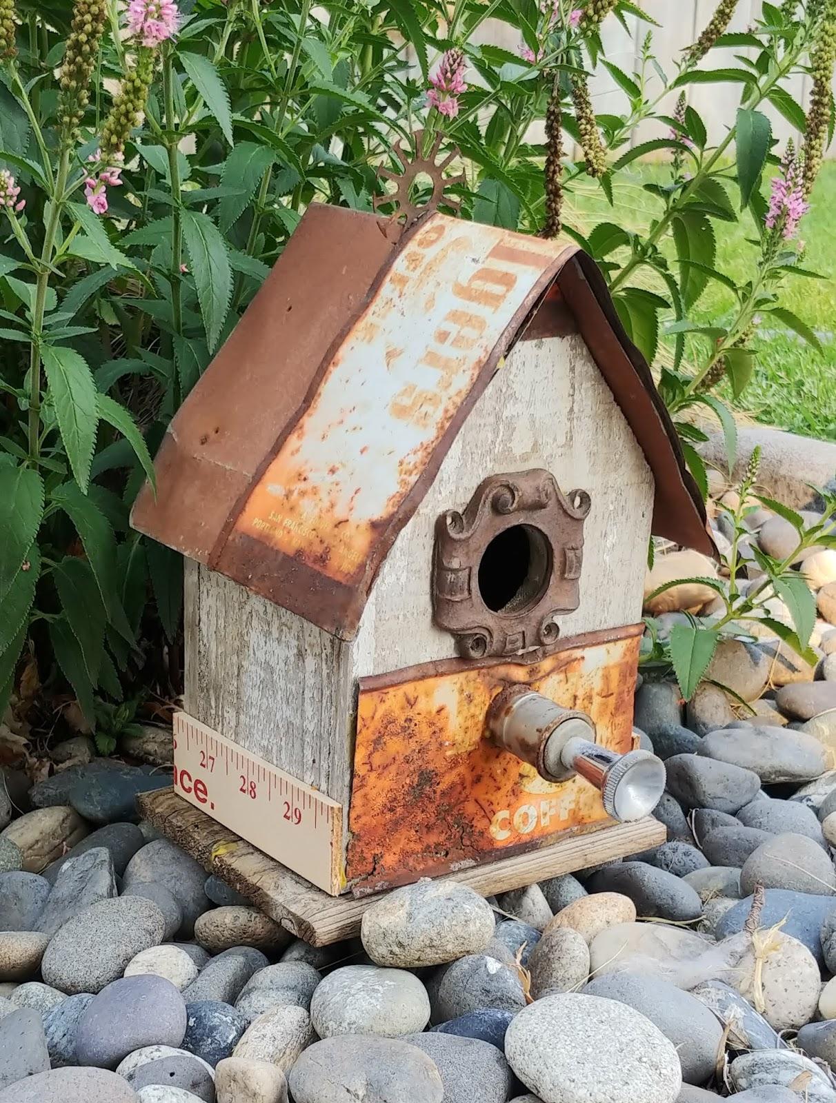 rusty junk birdhouse