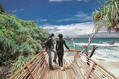 Spot foto berupa tiruan perahu dari bambu yang ada di Pantai Teluk Putri. Foto oleh @jhon_aja