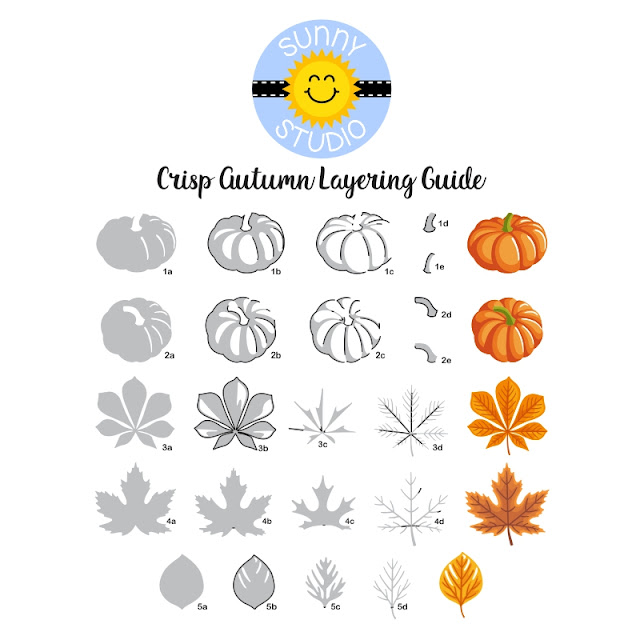 Sunny Studio Blog: Crisp Autumn Layered Mini Pumpkins and Fall Leaves Clear Stamps Step-by-Step Layering Guide
