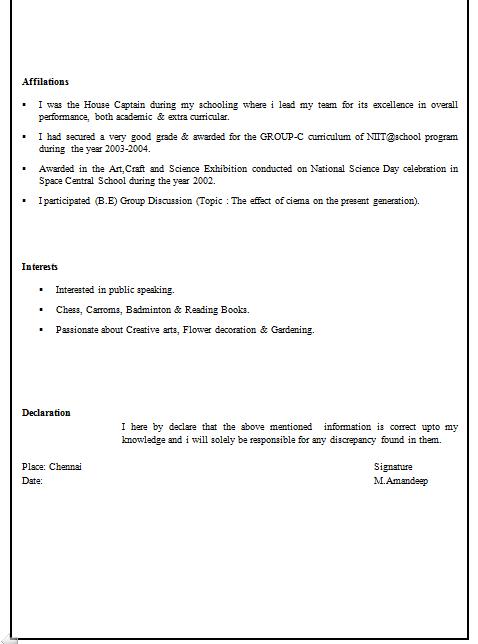 Resume Declaration Format | Resume Format Download Pdf