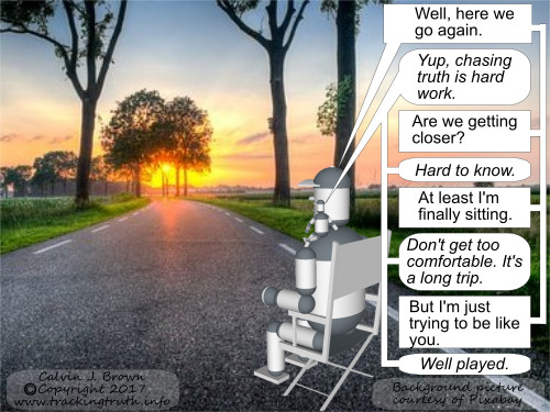 Two robots are looking down a road talking about resuming their search for truth.