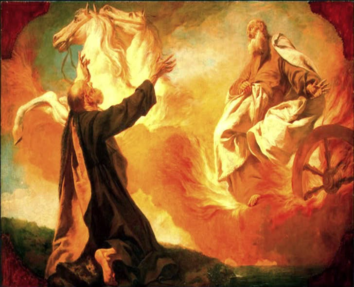 As Elijah and Elisha were walking along and talking together, suddenly a chariot of fire and horses of fire appeared and separated the two of them, and Elijah went up to heaven in a whirlwind. (2 Kings 2:11)