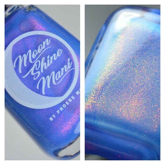 neon blue nail polish with color shifting shimmer in a bottle