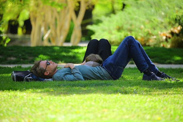 relaxare liniste bucurie familie intins pe iarba pajiste