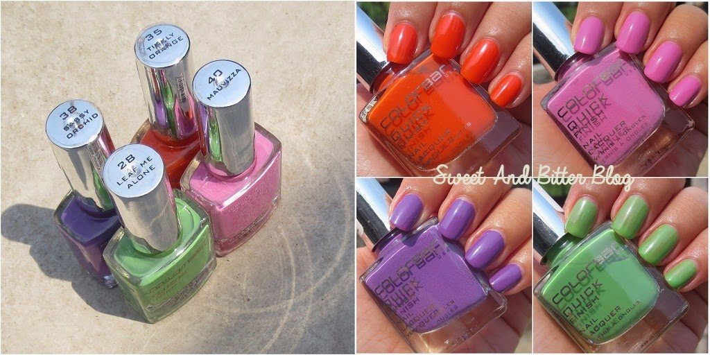 Colorbar QUICK Finish ~ Leaf Me Alone, Mauvizza, Sassy Orchid, Tinkly Orange ~ Nail Polish Swatch