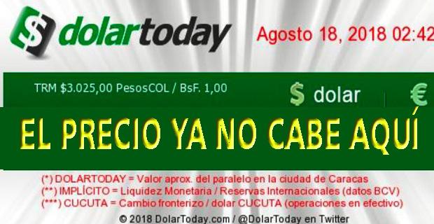 El dólar paralelo amanecerá este lunes a 25.000.000 de Bolívares Fuertes