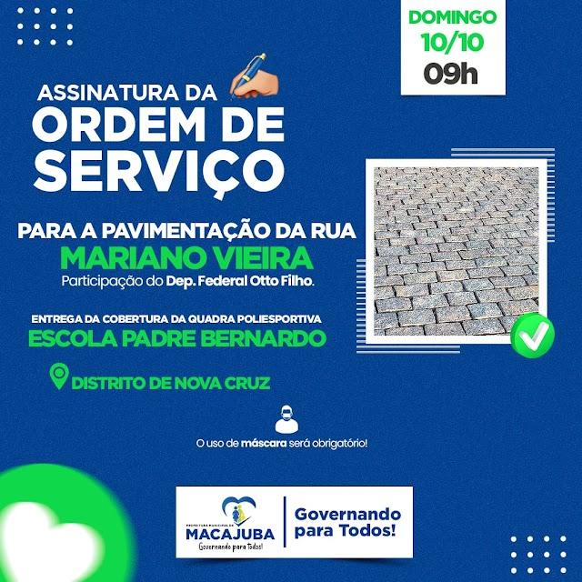 Prefeito assina Ordem de Serviço para pavimentação da Rua Mariano Vieira no Distrito de Nova Cruz neste domingo (10)