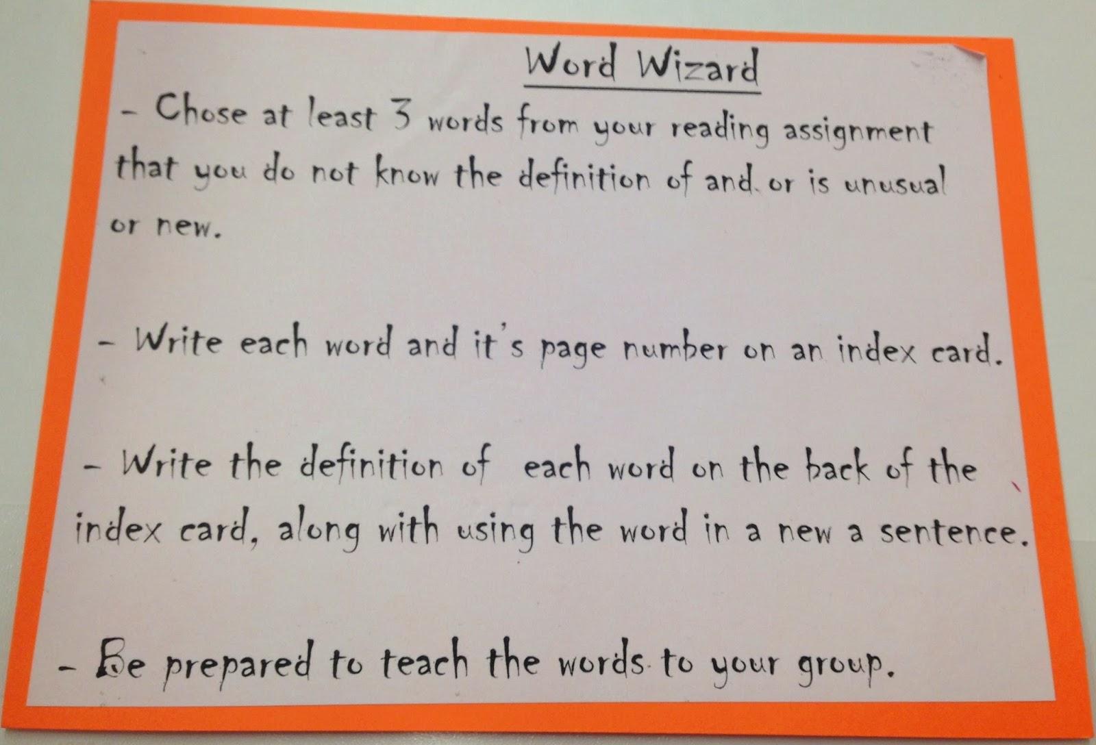 Word Wizard Worksheet Literature Circles