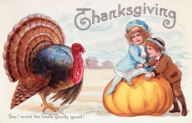 vintage post card children, turkey, pumpkin