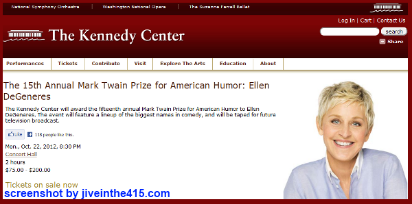 The Kennedy Center awards Ellen DeGeneres with the Mark Twain Prize