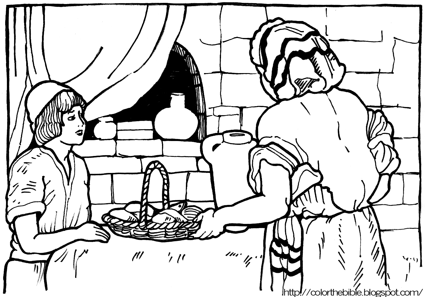 It is a photo of Nifty Free Bible Coloring Pages Loaves And Fishes