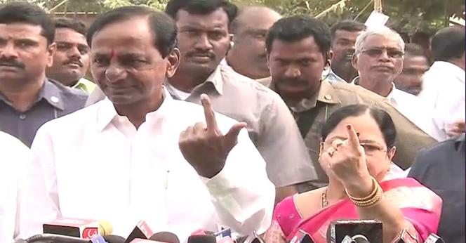 KCR Cast His Vote At Chinthanamadaka