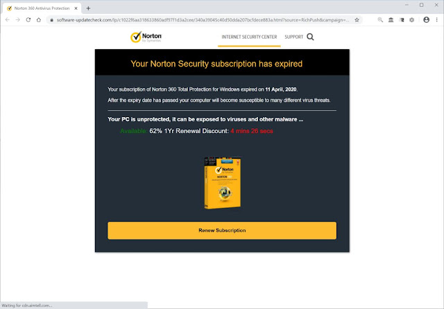 """""""Your Norton Security subscription has expired"""" pop-ups Scam"""