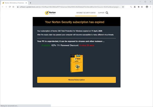 Software-updatecheck.com pop-ups scam