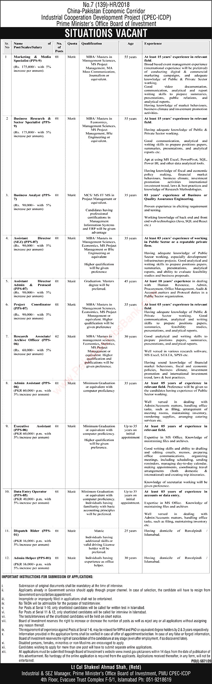 Latest Jobs in  Board of Investment Islamabad 2021
