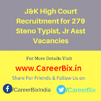 J&K High Court Recruitment for 279 Steno Typist, Jr Asst Vacancies