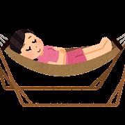 自立式ハンモックで寝る人のイラスト(女性)