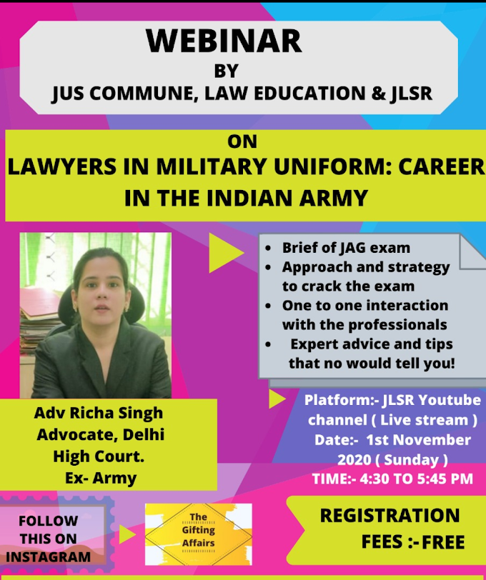 """Webinar on """"Lawyers in Military Uniform: Career in the Indian Army"""