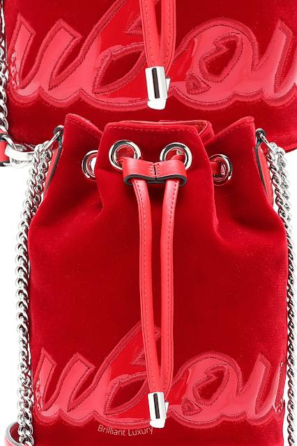 Christian Louboutin Loubi Marie Jane red velvet bucket bag #brilliantluxury
