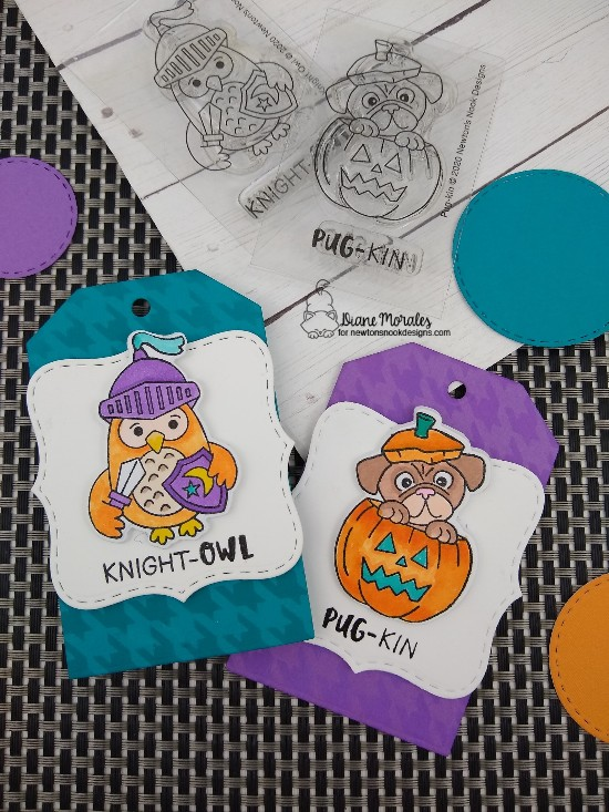 Knight-owl by Diane features Knight Owl, Pug-kin, Houndstooth, Fancy Edges Tag, and Frames Squared by Newton's Nook Designs; #newtonsnook