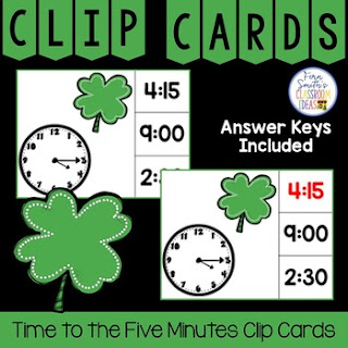Time to the Five Minutes Clip Cards Shamrock Themed