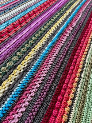 Rainbow Sampler Blanket - pattern by Haak Maar Raak