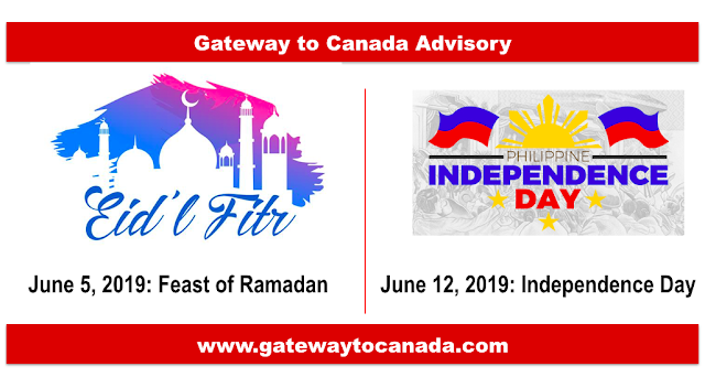 June 5 (Feast of Ramadan) and June 12 (Philippine Independence Day)