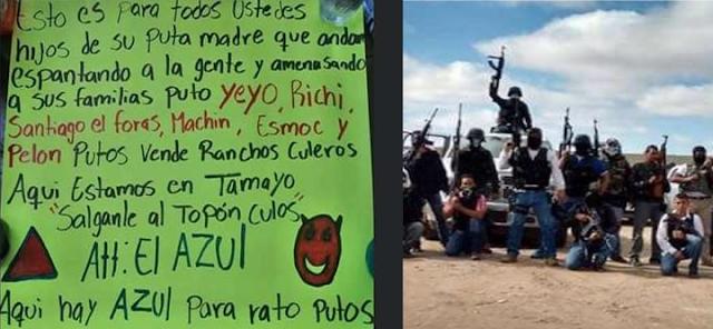 Fotografias; Se presenta como El Azul y dice ser el nuevo jefe de El Cártel de Santa Rosa de Lima,  quien suplirá a El Marro