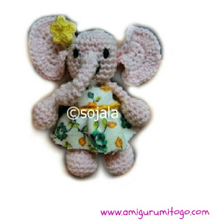 small crochet pink elephant