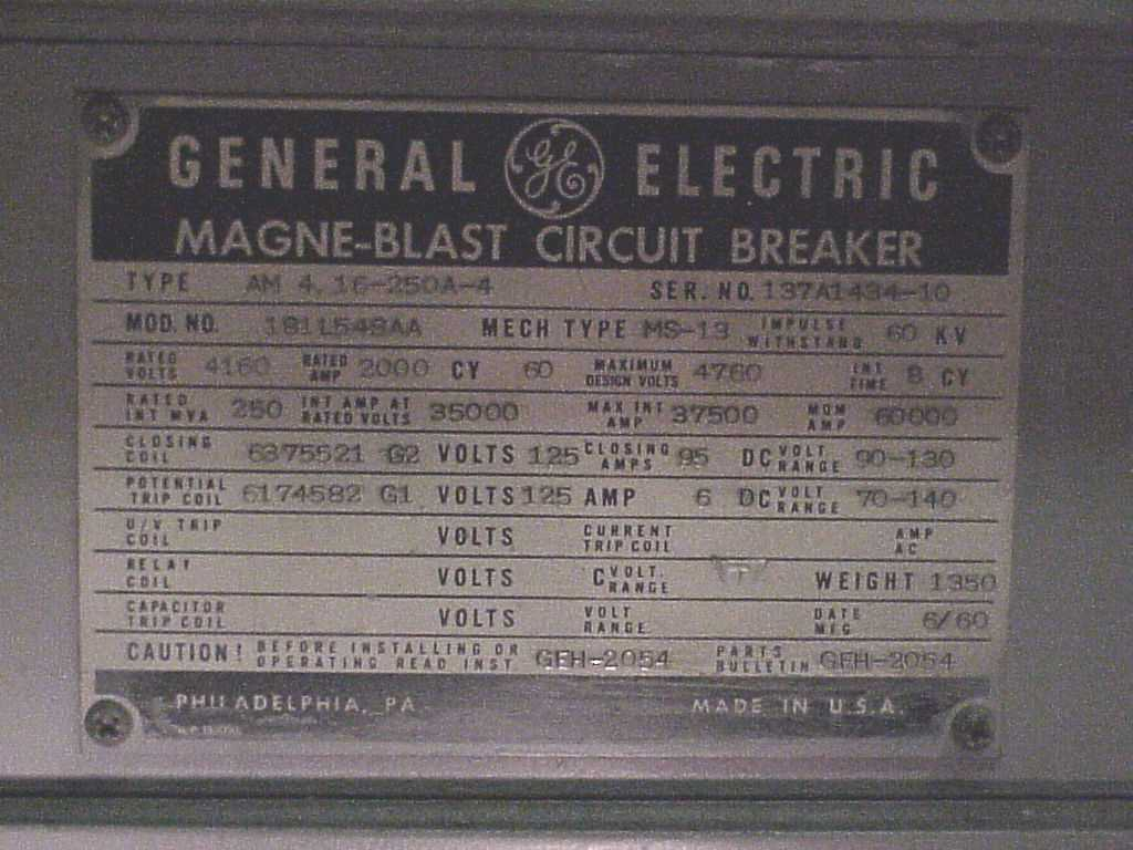 hight resolution of ge 5kv magna blast breaker name plate