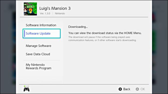 تظهر رسالة في لعبة الخيارات توضح تنزيل التحديث على Nintendo Switch