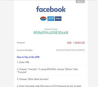 Pilihan pembayaran saldo iklan facebook