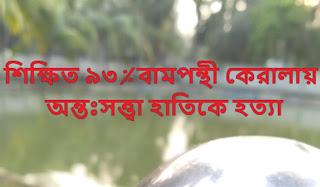শিক্ষিত ৯৩% বামপন্থী কেরালায় অন্তঃসত্ত্বা হাতিকে হত্যা,sribangla