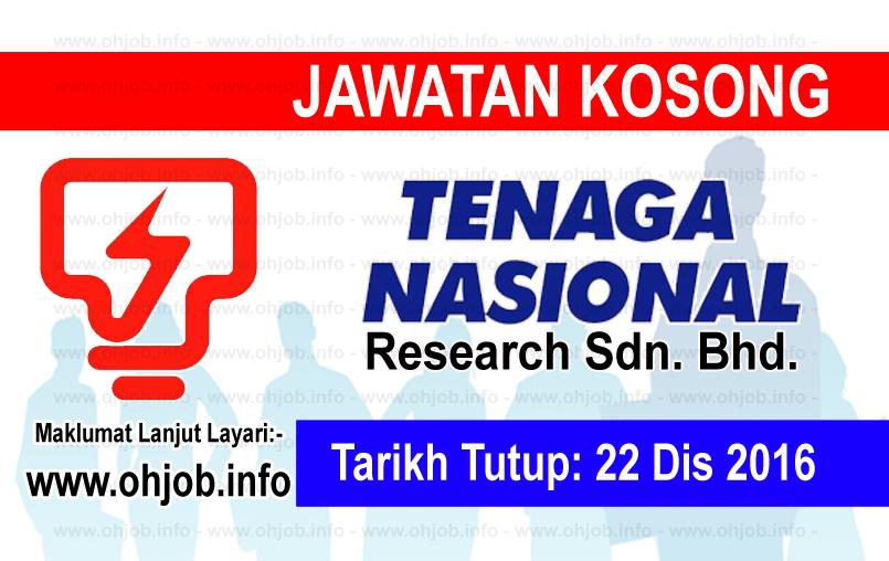 Jawatan Kerja Kosong TNB Research Sdn Bhd logo www.ohjob.info disember 2016