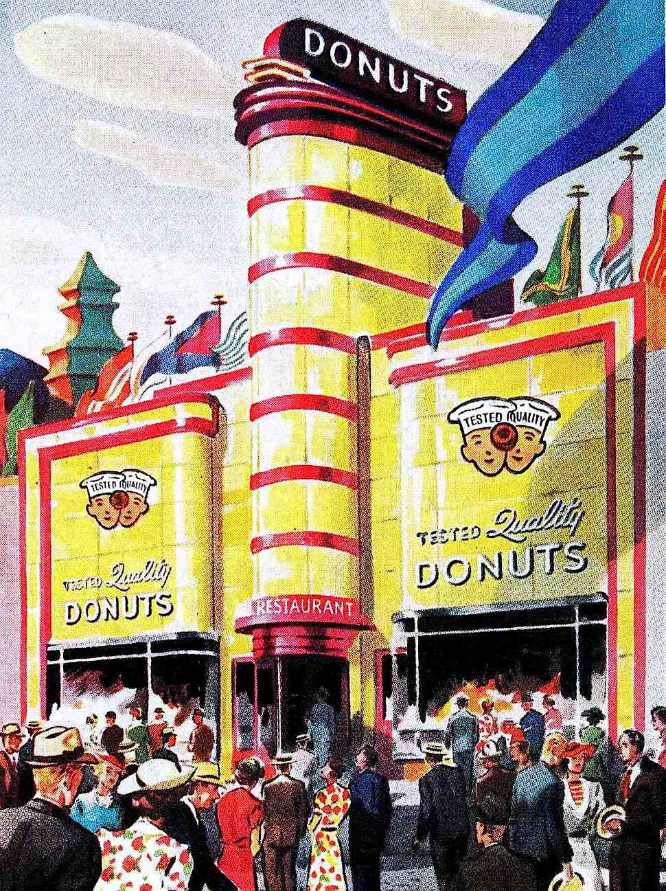 fun donuts for everyone at the 1939 San Francisco World's Fair, a color illustration