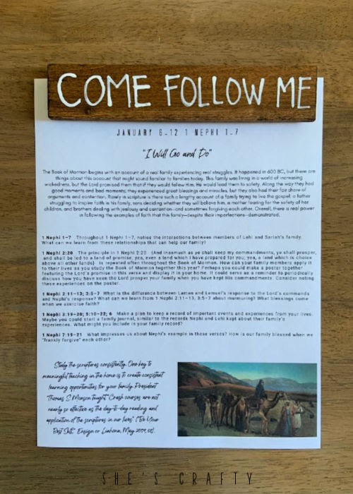Come Follow Me - Home Study Printable and DIY magnet - January 6-12
