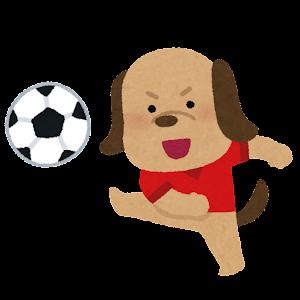 サッカーをやる動物のキャラクター(犬)