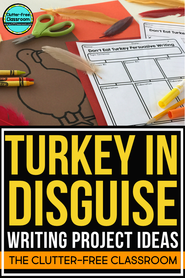 The Turkey in Disguise project is a fun activity for kids that makes a great bulletin board. If you need a family project letter, writing examples, rubric or ideas you'll find them here. This creative craft is a great lesson to pair with the books Turkey Trouble, Twas the Night Before Thanksgiving or Run, Turkey Run or just have students use the template to outline a descriptive or persuasive story. This post includes a free printable and links to writing paper and more.