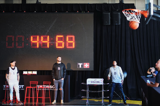 Free throw half time comp  with Isaac Humphries and Sterling Brown. TISSOT NBA Finals Party Sydney - Photography by Kent Johnson.