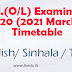 O/L - 2020 - Time table - English, Tamil and Sinhala