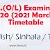 O/L - 2020 - Time table - English, Tamil and Sinhala