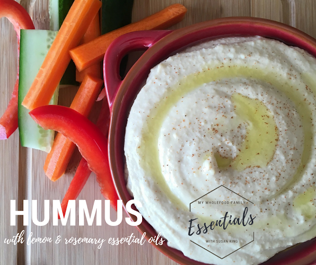 hummus with doTERRA lemon and rosemary essential oils - www.mywholefoodfamily.com