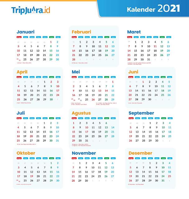 Download Template Kalender 2021 Masehi Hijriyah Jawa PLUS Hari Libur Nasional 2021