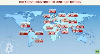 تعرف على الدول الاقل  تكلفة في تعدين البيتكوين BTC