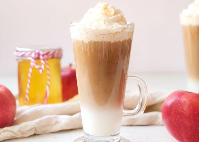 Healthy Apple Crisp Macchiato Recipe Iced or Hot (Sugar Free, Vegan)