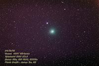 Kometa 46P/Wirtanen, zdjęcie z 04.12.2018 r. Credit: James Tse, Nowa Zelandia. Według oceny autora, koma osiąga 1 stopień średnicy i wygląda jak rozmyta kula. Łatwo dostrzegalna w lornetce 7x50 (uwzględnijmy jednak lokalizację póki co korzystniejszą od Polski).
