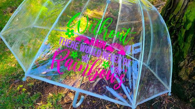 oracal 651, adhesive vinyl, vinyl on umbrella, mirrored vinyl projects, silhouette project ideas