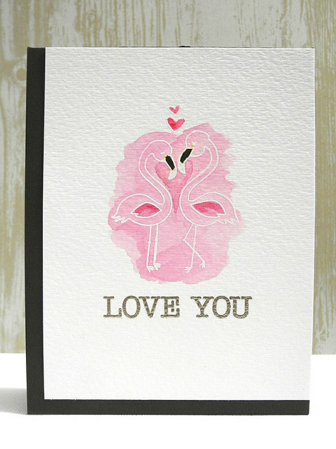 Flamingo Love Card by Jingle | Flirty Flamingos Stamp set by Newton's Nook Designs #flamingo #newtonsnook