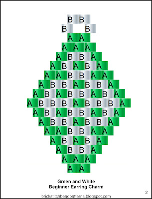 Free brick stitch seed bead earring pattern labeled color chart.